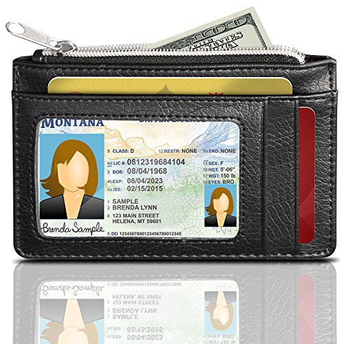 GreatShield RFID Blocking Pelle Portafoglio (3 Slots), Theft Proof Credit Card Holder Wallet [3 Card Slots | 1 Zippered Tasca] per Maschi & Donne (Nero)