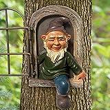 Gartenzwerg Statue, 15 cm, Elfe aus der Tür, Baumumarmer, Gartendekoration, unvorstellbarer Baum, Skulptur, Gartendekoration (eine Tür)