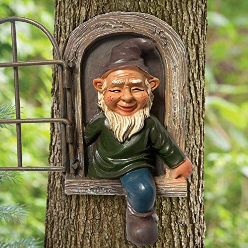 Garden Gnome Statue,5.9inch Elf Out The Door Tree Hugger, Garden Peeker Yard Art unimaginable Tree Sculpture Garden Decoration (One door)