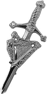 Tartanista - Alfiler de hombre para kilt - Arpa irlandesa - Cromo - En caja de presentación
