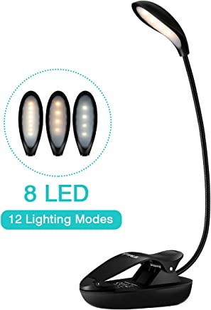 TOPELEK Reading Light, 8 LED Book Light with 3 Colors, 12 Brightness, Micro USB Rechargeable Clip On Lamp with Flexible Goose Neck, Dual Hinge for Night Reading, Kids and Bookworm
