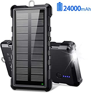 $31 » Portable Solar Charger, BEARTWO 24000mAh Solar Power Bank Panel Charger with 2 USB Outputs External Battery Pack High-Spee...