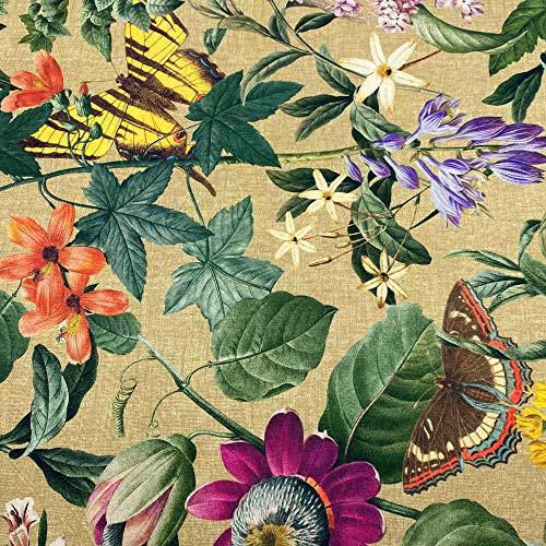 Kt KILOtela Tela de loneta Estampada Digital - Half Panamá 100% algodón - Retal de 100 cm Largo x 140 cm Ancho | Flores y Mariposas Amazonia - Marrón ─ 1 Metro
