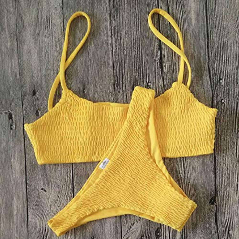 HITSAN ZisioN 2017 New Crinkle Brazilian Bikini Women Swimsuit Swimwear Women Bathing Suit Thong Bikinis Solid Beach Wear Biquini color Yellow Size S