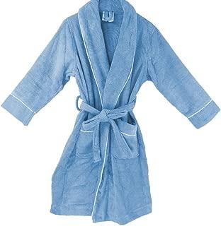 OrganicTextiles Velour Bathrobe, 100% GOTS Certified Organic Cotton, Soft, Plush, Absorbent - Women's Large/Extra Large, Blue