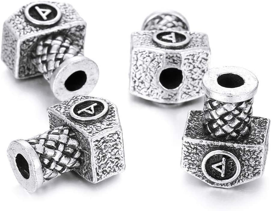 10 Small wave cage viking celtic hair beard braid beads alloy metal silver