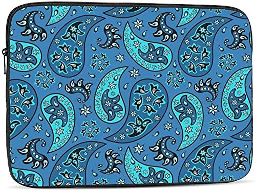 BONRI Funda para portátil con diseño de paisley azul compatible con estuche para ordenador portátil divertido de 10-17 pulgadas con diseño de paisley azul, 15 pulgadas