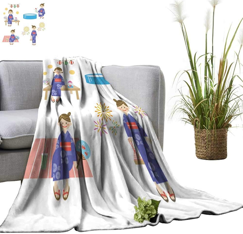 YOYI Bed Blanket Yukata Girl Comfortable Home Decor 50 x70