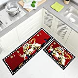 Wolala Home 2pcs Chefs Man Kitchen Rugs for Wood Floors Red Machine Washable Kitchen Rug Sets...