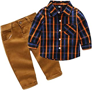 Fashion Baby Boy's Fall Outfits Long Sleeve Plaid Shirt Pants 2 Piece Clothing Suit Set Brown 12-18M