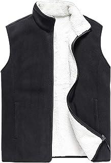 TieNew Men's Sleeveless Warm Fleece Vest Zipper Gilet,Large size plus velvet fleece men's vest sleeveless waistcoat padded...