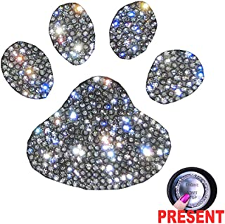 U&M Crystal Car Decal Auto Car Emblem Sticker Decoration Bling Bling Interior Accessories for Women (Paw)