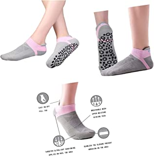 BESIXER Yoga Socks with Grips Non-Slip Yoga Pilates Barre Sports Cotton Socks for Women Size 5-10, 3 Pack or 4 Pack