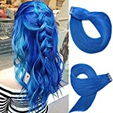 Tape In Remy Human Hair Extensions 20pcs 50g Per Set #Blue Remy Hair Extensions Seamless Skin Weft Remy Silk Straight Hair Glue in Extensions Glue in Extensions Human Hair 20 Inch