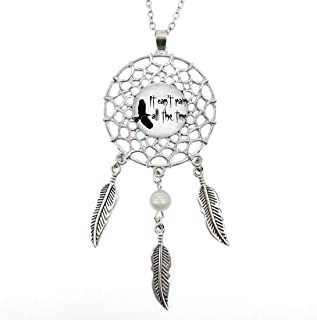 Silver Dream Catcher Necklace Maze Runner Quote Glass Pendant Long Chain Dangling Feather Charms Jewelry for Women