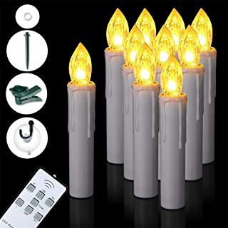 SoulBay 10Pcs LED Window Candles with Timer Remote Battery Operated Dimmable Flicker Flameless Taper Candle Christmas Light Home Party Decoration, Suction Cups Parts Included