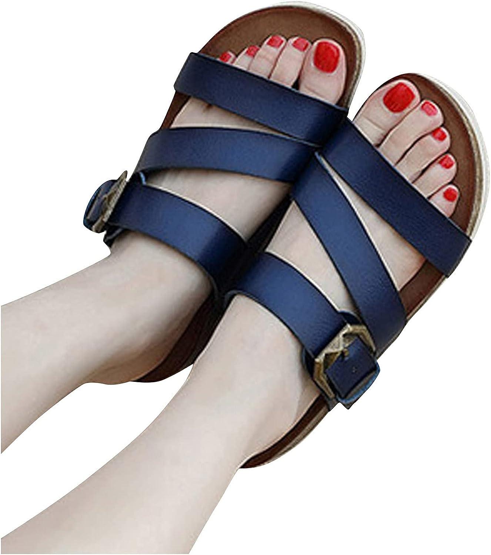Women's Adjustable Buckle Strap Slides Sandals Non Slip Thick Flat Platform Footbed Slippers Sandals