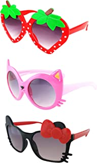 FANCYKIDS Kids Cat Strawberry Shaped Sunglasses for Toddler Girls Age 3-10