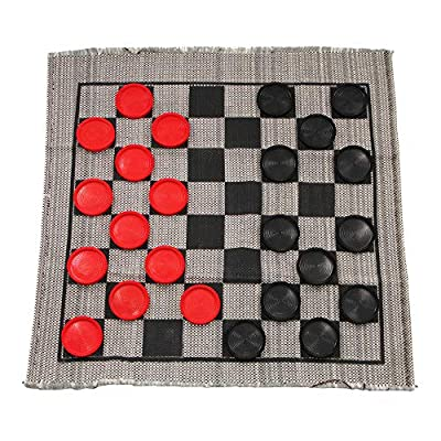 Jumbo Checkers Rug Game, 3 Inch Diameter Pieces (12 Red / 12 Black), Machine Washable, The Giant Original, Classic Family Fun Kid Activity, Lightweight/Travel Friendly, Indoor/Outdoor, Made in the USA from Multiflex Designs