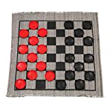 Jumbo Checkers Rug Game, 3 Inch Diameter Pieces (12 Red / 12 Black), Machine Washable, The Giant Original, Classic Family Fun Kid Activity, Lightweight/Travel Friendly, Indoor/Outdoor, Made in the USA