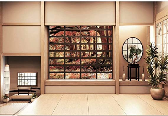 DaShan 12x10ft Japan Traditional Residence Backdrop Japanese Style Living Room Photography Background Wooden Floor Interior Decoration Wallpaper Kids Adult Portrait Photo Studio Props