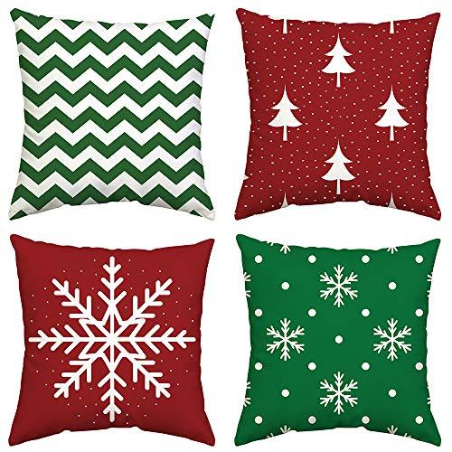 GTEXT Juego de 4 Fundas de Almohada para decoración de Navidad, Color Verde y Rojo, Funda de Almohada para sofá, decoración del hogar, Almohadas de Lino de 18 x 18 Pulgadas