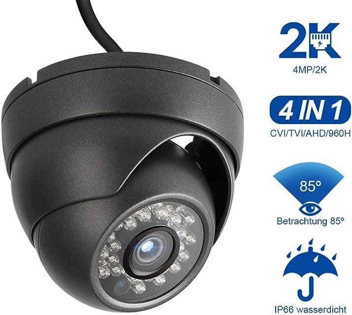 Dericam 4MP HD 2K con cámara Domo para Exteriores cámara de Seguridad 4 en 1 HDCVI/HDTVI/AHD / 960H Estuche metálico IP66 visión Nocturna de 24 LED / 82 pies ángulo de visión de 85 ° PAL Negro
