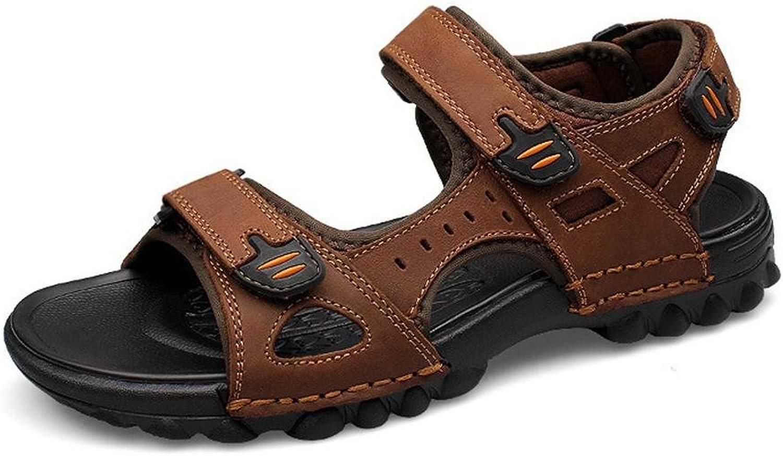 Brandon Christie Men Leather Sandals Fashion Water shoes Summer Soft Cowhide Beach shoes, 38