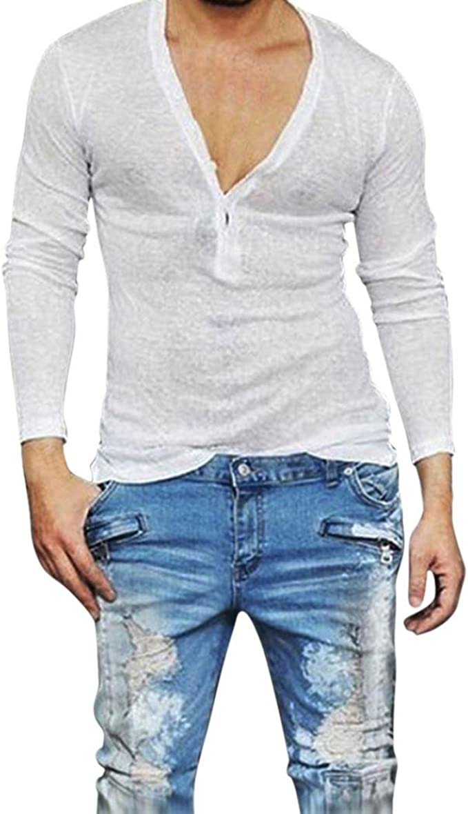 Herren T Shirt/Men es Casual Slim Fit Deep V Hals Sommer Langarm T ...