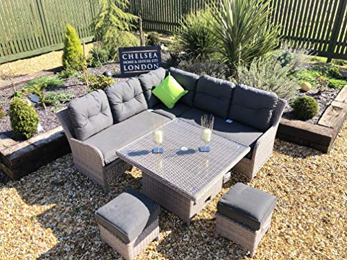 chelsea home and leisure ltd Rattan Garden Furniture Corner Sofa Dining Set with adjustable table
