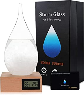Storm Glass Weatherman, Stylish and Creative Desktop Weather Forecaster With Wooden Base, Small Weather Station for Home and Office