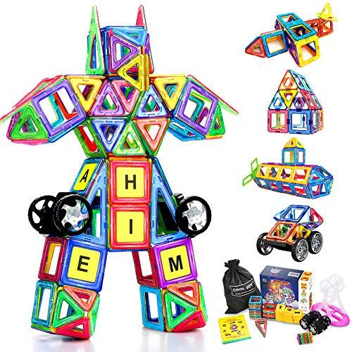 COOLJOY Magnetische Bausteine, 117 Stück Magnet Baustein, Pädagogische Bauklötze Spielzeug für Kinder, 3D...