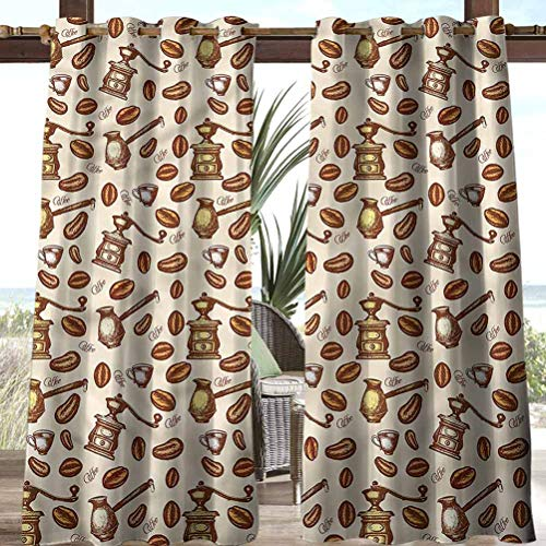 Anmaseven Modern Polyester Extra Long Curtains Outdoor Summer Drapes for Pergola/Garden Grunge Sketchy Pattern 100' W by 84' L(K254cm x G213cm)