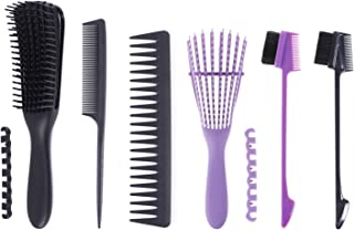 Xgood 5 Pieces Detangling Brush Set with Edge Brush Double Sided for Wet/Dry/Long Thick Curly Hair (Dotted Handle) with Ey...