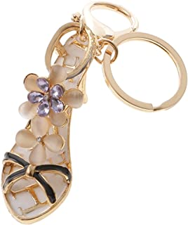 Prettyia Opal Crystal High-heeled Shoes Crystal Keyring Purse Bag Key Chain Purple