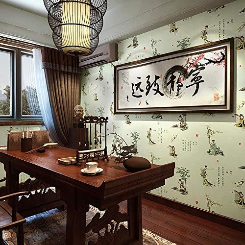 New Chinese Minqing Klassische chinesische Kalligraphie und Malerei Wallpaper Tea Shop Restaurant Wallpaper-grün