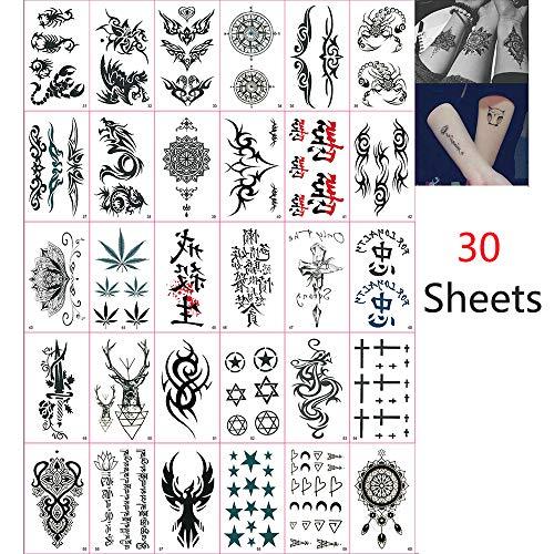 Jurxy Etiqueta engomada del tatuaje temporal 30 hojas Tatuajes ...