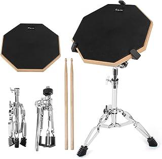 Kmise Snare Drum Practice Pad 12 pulgadas de doble lado con palos de soporte para estudiantes principiantes