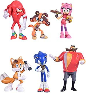 Max Fun Set of 6pcs Sonic the Hedgehog Action Figures, 5-7cm Tall Cake toppers-Collect Sonic, Knuckles, Tails, Amy and evil Dr. Eggman