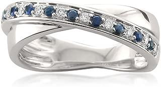 14k White Gold Round Diamond & Blue Sapphire Infinity Band Ring (1/4 cttw, I-J, I1-I2)