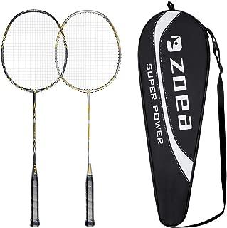 ZOEA Badminton Racket Set, Professional High Grade Graphite Badminton Racquet - 100% Full Carbon Fiber & High Tension & Lightweight Badminton Rackets Including Badminton Bag Cover