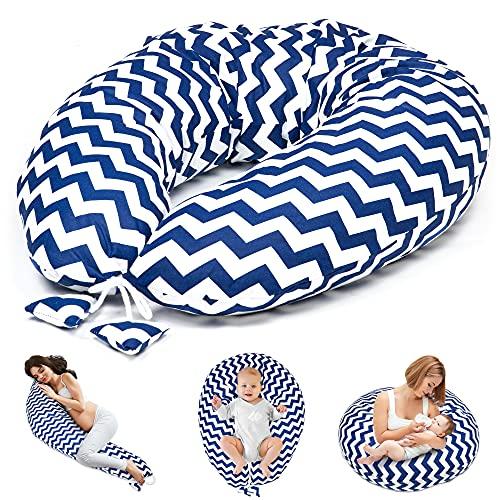 Cojín de lactancia para dormir de lado – Cojín de apoyo para bebé XXL Pregnancy Pillow Oeko-Tex (zigzag, 165 x 70 cm)