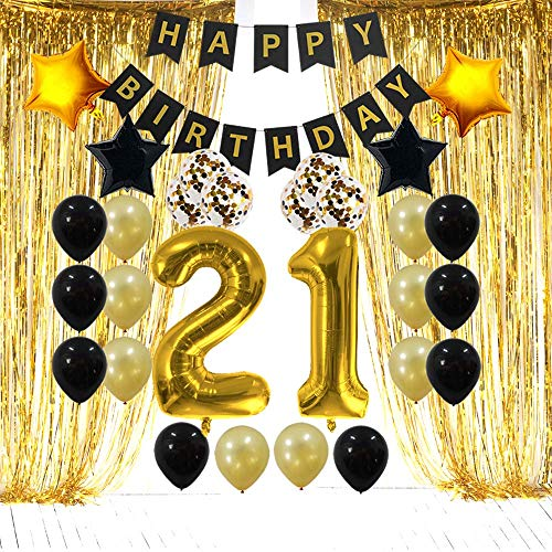 21st Birthday Decorations Gifts for Her Him(Men Women) - 21 Birthday Party Supplies Happy Birthday Banner, Gold Foil Fringe Curtains, 21 Gold Number Balloons and Confetti Balloons