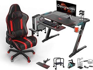GXCM Gaming Desk,Gaming Tabel E-sport Game Tafel En Stoel Set, PC Gaming Bureaus Met Muis Pad LED Lichten Cup Houder Hoofd...