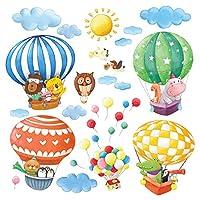 DECOWALL 動物熱気球 ウォール ステッカー デコ (大) DA-1406B