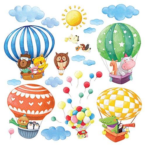 DECOWALL DA-1406B Globos Aerostáticos de Animales Vinilo Pegatinas Decorativas Adhesiva Pared Dormitorio Salón Guardería Habitación Infantiles Niños Bebés(Grande)