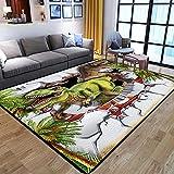 alfombra Dinosaurio animal óptico de ladrillo rojo blanco verde Lana corta 100% poliéster alfombra impresa 60 x 90 cm Alfombra Antideslizante Adecuado para Dormitorio Estudio Habitación Infantil