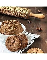 Cozyhoma Houten 3D-deegrol voor Kerst, Gegraveerde Deegrol met Versiering en Kerstsymbolen voor Koekjes Noedels Biscuit Cake (34,8 cm)