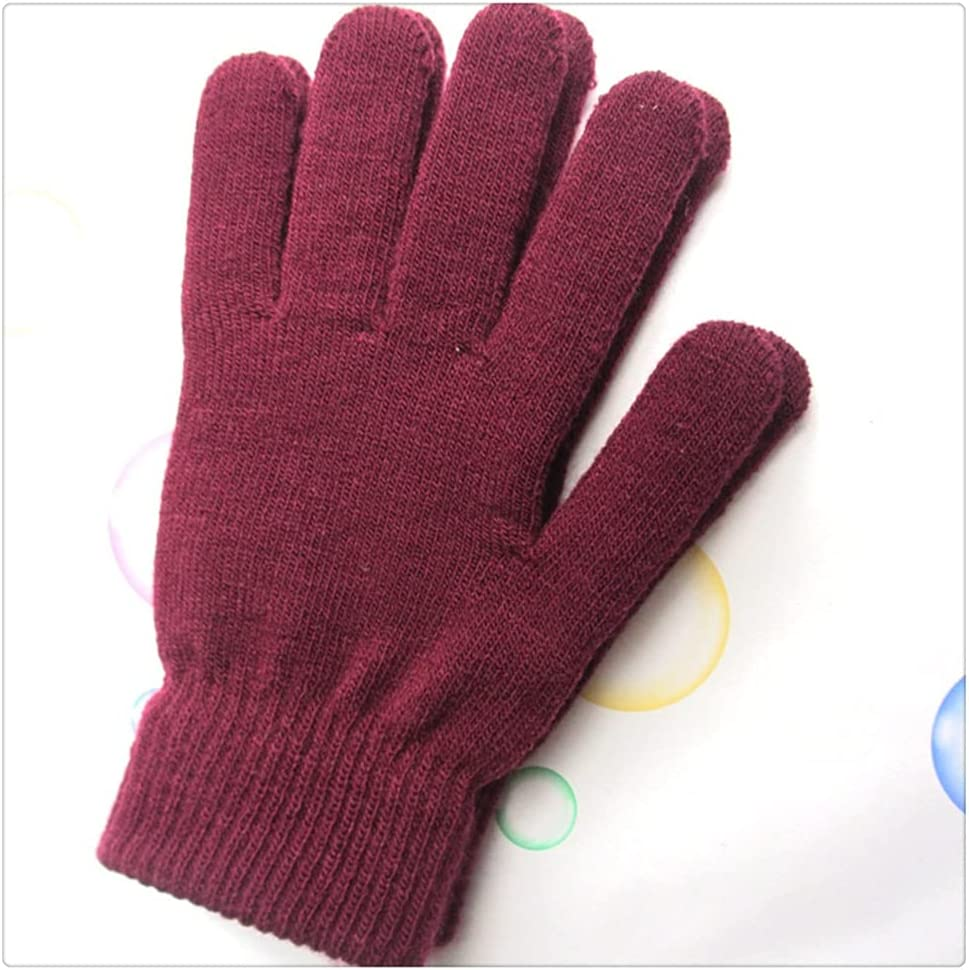 WBDL Unisex Winter Ribbed Knitted Full Fingered Gloves Women Men Classic Basic Thicken Lining Mittens Thermal Wrist Gloves (Color : Burgundy)