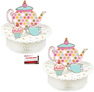 TeaTime (2 Pack) Tea Party Alice in Wonderland Birthday Supplies Pop up Centerpiece (Plus Party Planning Checklist by Mikes Super Store)